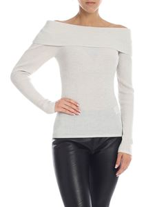 Parosh - Loulux shirt in white and silver lamé