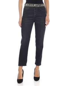 Dondup - Koons jeans in black with jeweled embroidery