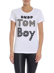 Dondup - White T-shirt with Tom Boy patch