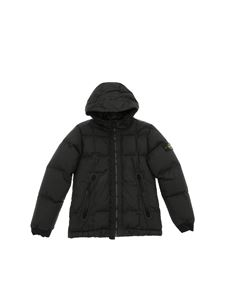 Stone Island Junior - Black down jacket with logo on the sleeve