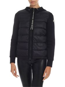 Moncler - Cardigan in black with down jacket detail