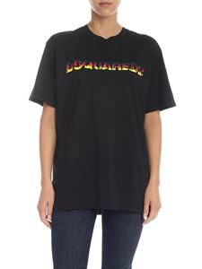 Dsquared2 - Black t-shirt with flames print logo
