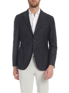 Boglioli - Dark grey jacket with herringbone pattern