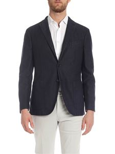 Boglioli - Blue and black Jacket in barbed fabric
