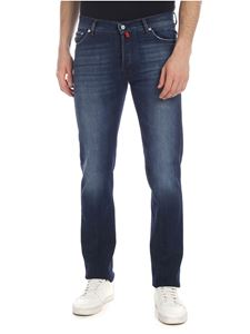 Kiton - Blue 5-pocket jeans with red details