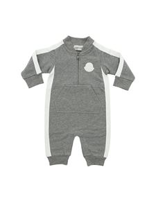 Moncler Jr - Grey romper with white stripes