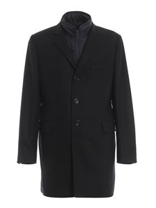 Fay - Single-breasted coat in black with hood