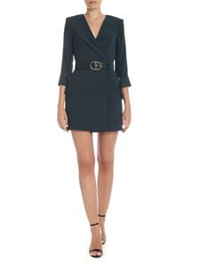 Elisabetta Franchi - Wrap dress in glass green color
