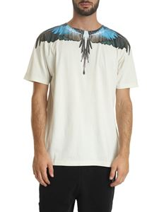 Marcelo Burlon - Turquoise Wings T-shirt in cream color