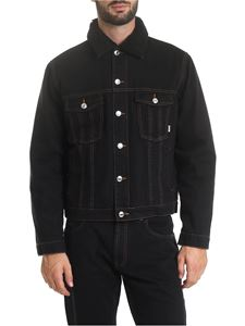 GCDS - Black denim jacket with fleece lining