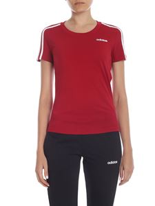 Adidas - T-shirt E 3Stripes Slim rosso scuro