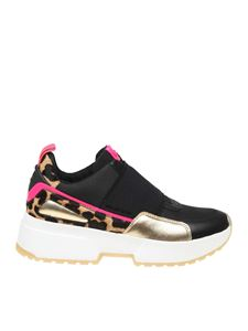 Michael Kors - Cosmo sneakers in black and leopard print