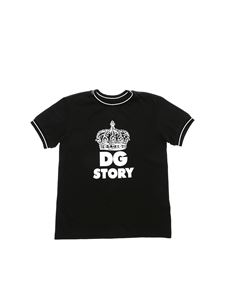 Dolce & Gabbana Jr - Black T-shirt with white crown print