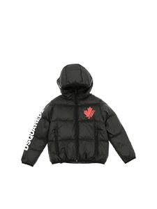 Dsquared2 - Black down jacket with red logo print