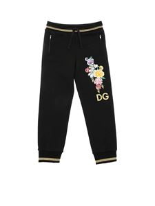 Dolce & Gabbana Jr - Black trousers with floral embroidery