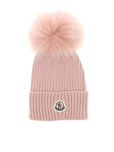 Moncler Jr - Red beanie with Moncler logo