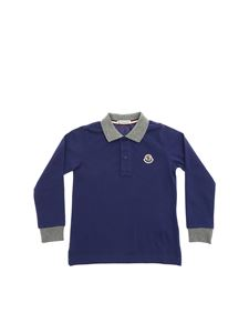 Moncler Jr - Blue polo shirts with grey details