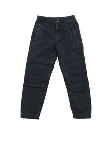 Stone Island Junior - Blue stretch cotton trousers