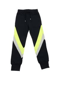 MSGM - Blue trousers with neon yellow details