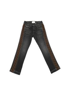 Fendi Jr - Faded effect black jeans with F is Fendi logo