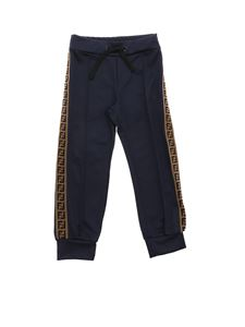 Fendi Jr - Blue trousers with F is Fendi logo