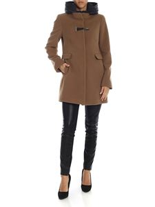 Fay - Hooded coat with Fay hook in Camel color