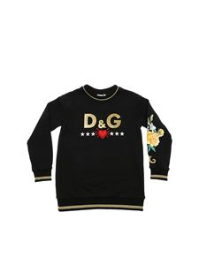 Dolce & Gabbana Jr - Black sweatshirt with sequin logo