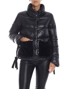 Herno - Black down jacket with faux fur pockets