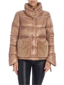 Herno - Beige down jacket with faux fur pockets