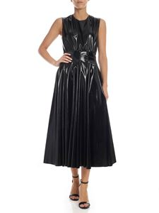 MSGM - Sleeveless dress in black patent eco-leather