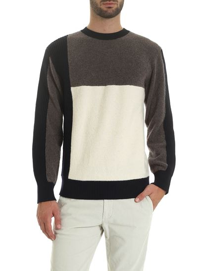 Z Zegna - Colorblock pullover in gray white and black