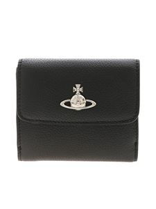 Vivienne Westwood  - Black leather wallet with Orb logo detail