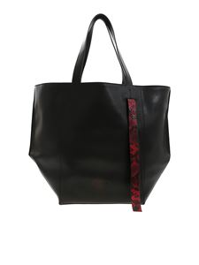 Vic Matiè - Black leather shopper with reptile print details