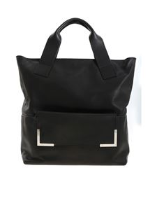 Vic Matiè - Black leather shopper with clutch bag
