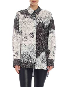 MSGM - White and black shirt with cats print