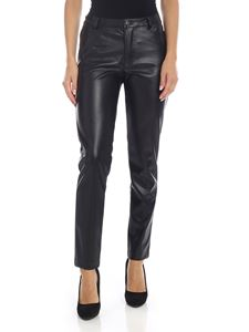 Gaelle Paris - Black eco-leather trousers with logo