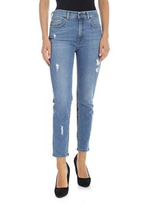 Gaelle Paris - Light blue jeans with eco-leather detail