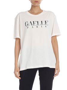 Gaelle Paris - T-shirt with contrast logo in cream color