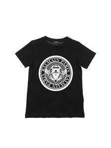 Balmain - Black T-shirt with medallion logo print