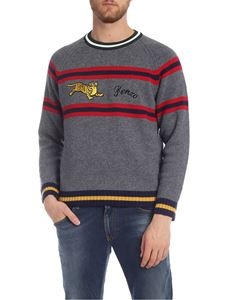 Kenzo - Striped Jumping Tiger pullover in grey