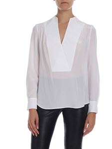 Barba - V-neck blouse in white