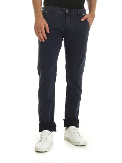 Jacob Cohën - Dark blue trousers with vintage effect