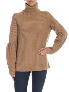 be Blumarine - Dark beige tricot turtleneck with gathered detail