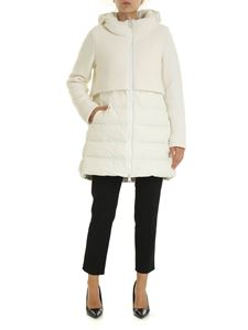 Herno - Long down jacket in white with wool insert