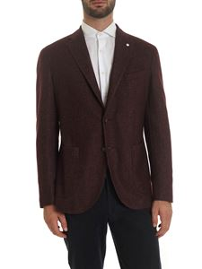 L.B.M. 1911 - Single-breasted jacket in melange burgundy
