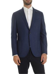 Lardini - Semi-lined single-breasted jacket in blue
