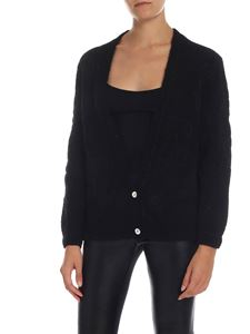 Ballantyne - Lamé blend cardigan in black