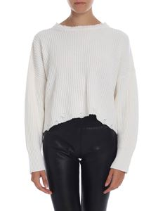 L'Autre Chose - Destroyed-effect pullover in white