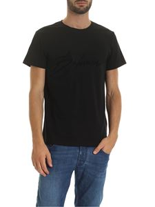 Balmain - Black t-shirt with Signature flock logo