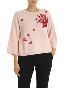 Red Valentino - Pink pullover with contrasting embroidery